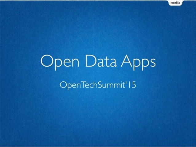 OpenTechSummit'15 Open Data Apps