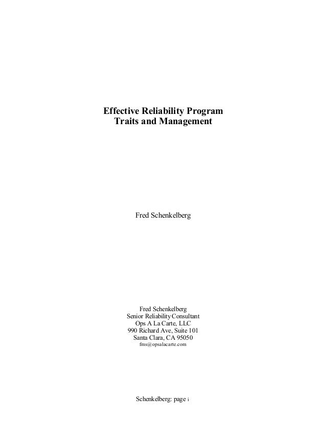 Tutorial on Effective Reliability Program Traits and Management