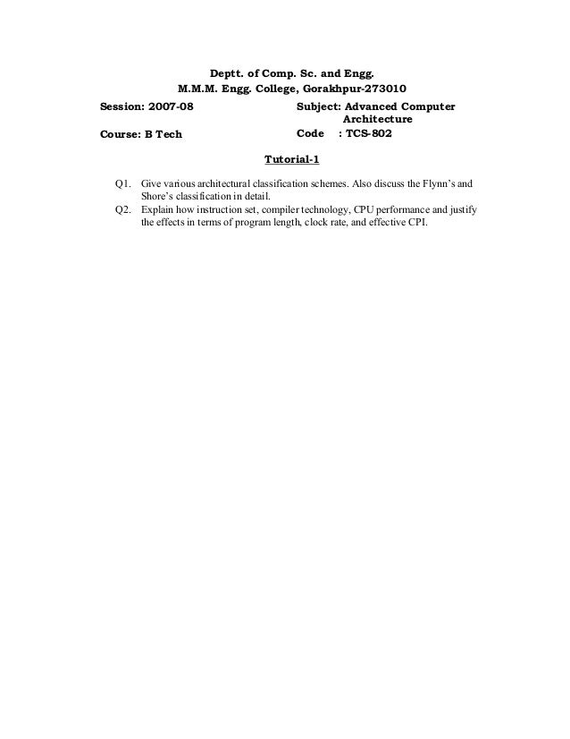 Deptt. of Comp. Sc. and Engg. M.M.M. Engg. College, Gorakhpur-273010 Session: 2007-08 Course: B Tech Subject: Advanced Com...