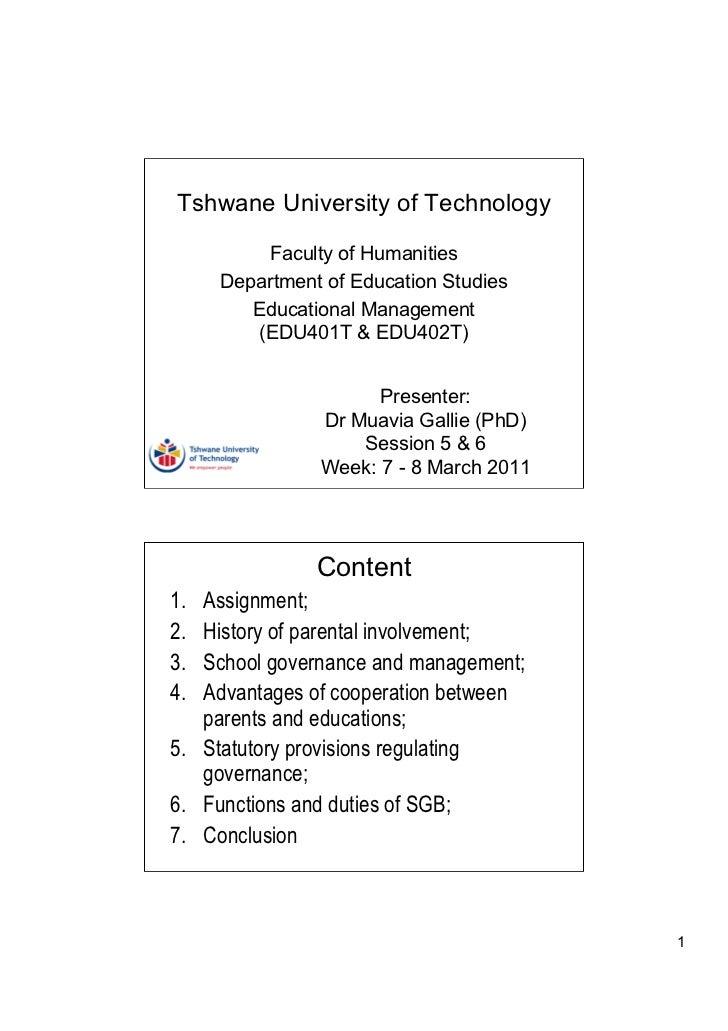 Tshwane University of Technology         Faculty of Humanities     Department of Education Studies        Educational Mana...