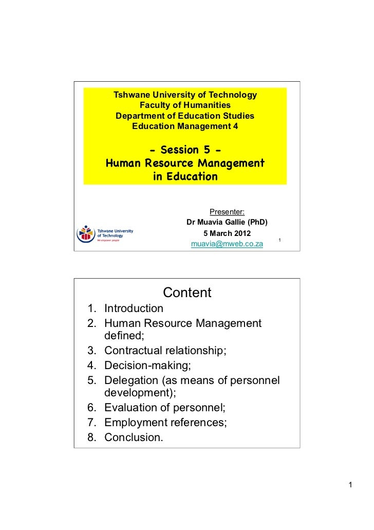 Tshwane University of Technology          Faculty of Humanities     Department of Education Studies        Education Manag...