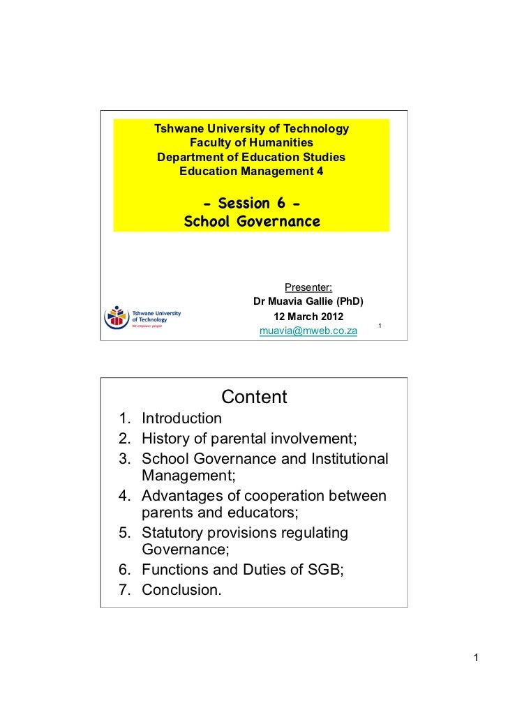 TUT EDU420 Session 6 - School Governance