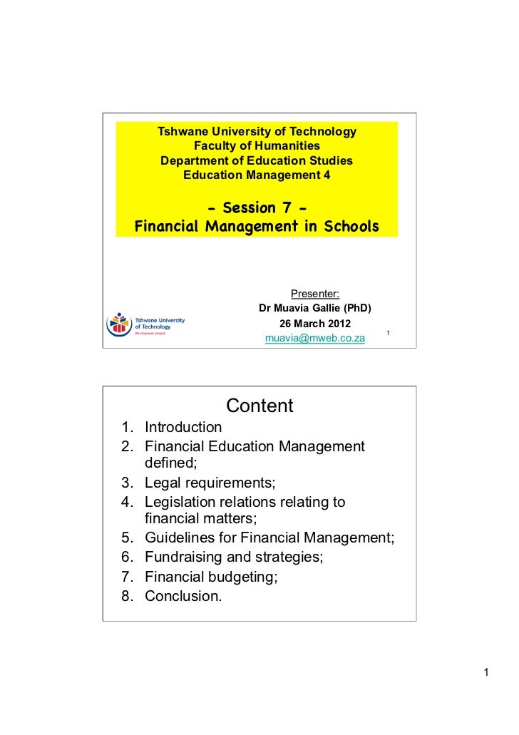 Tshwane University of Technology           Faculty of Humanities      Department of Education Studies         Education Ma...