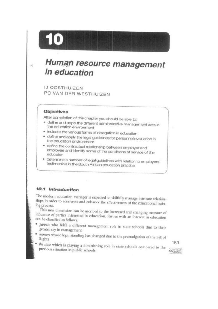 TUT EDU420 Theme 3 Chapter - Human resource management in education