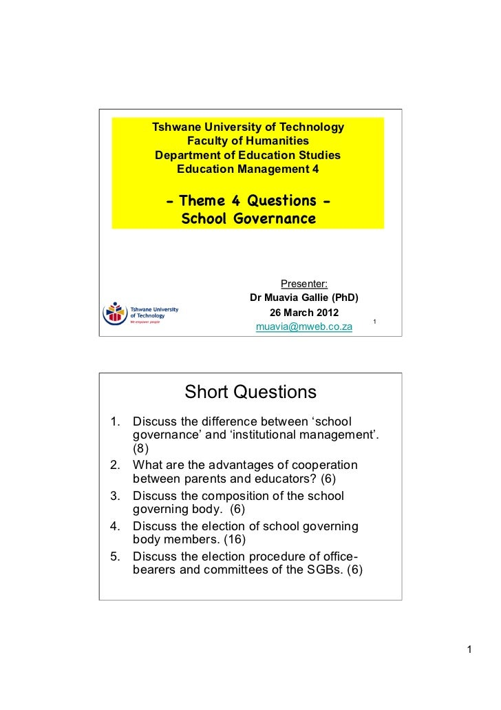 TUT EDU420 Theme 4 Questions - School Governance
