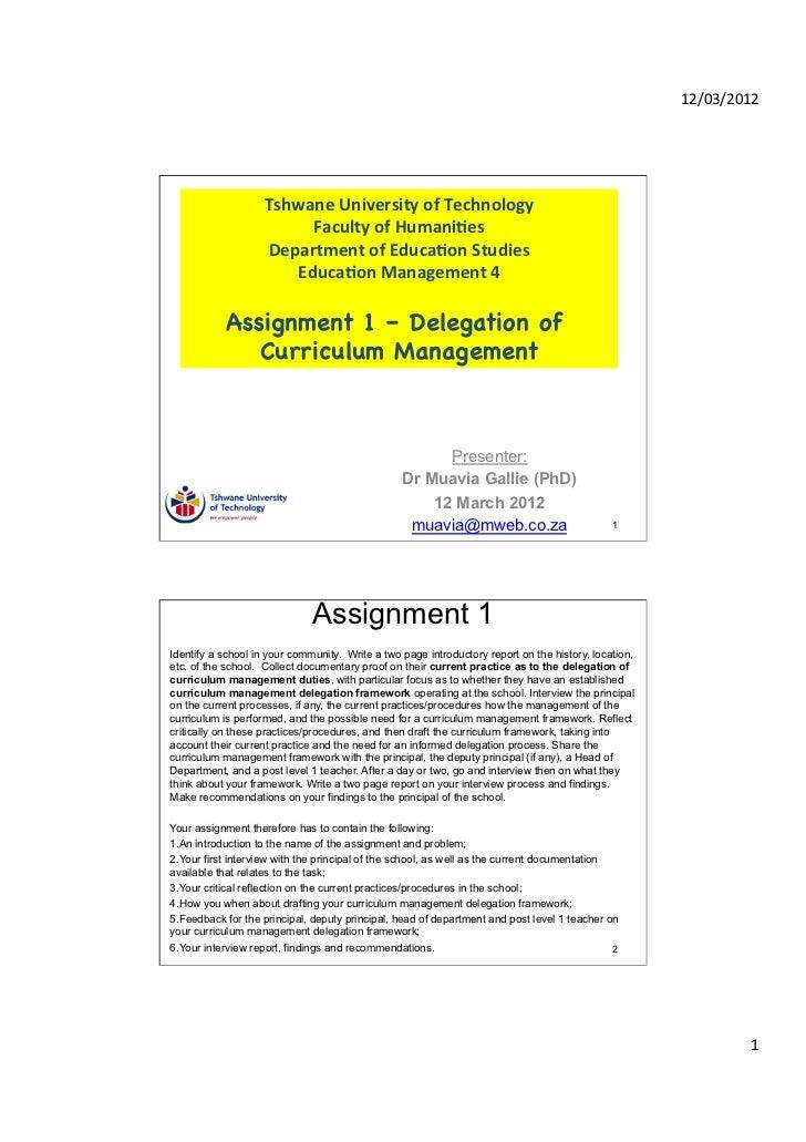 TUT EDU420 Assignment 1 - Delegation of curriculum management