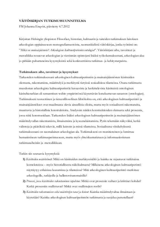 Väitöskirjan tutkimussuunnitelma Enqvist
