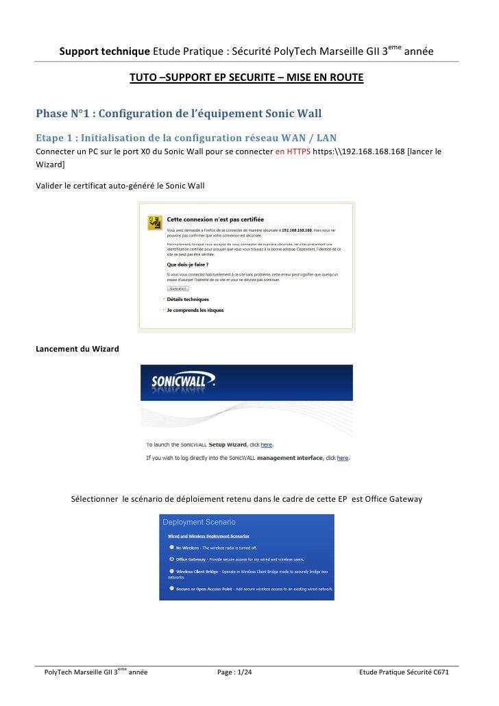 Tutoriel de configuration d'une architecture Sonicwall TZ-100 et Caméra IP DCS-2230