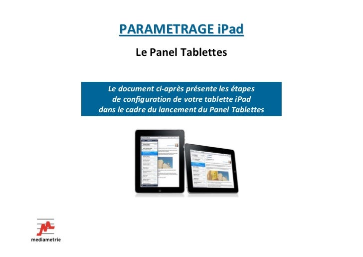 Parametrage iPad du panel Tablette