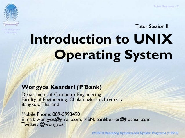 SysProg-Tutor 02 Introduction to Unix Operating System