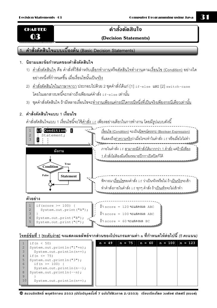Java-Chapter 03 Decision Statements