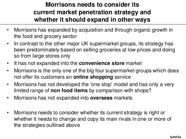 value chain analysis of morrison The contemporary concept of a value chain was first described and made popular by michael porter in his book competitive advantage: creating and sustaining superior performance a value chain consists of a set of activities involved in d.