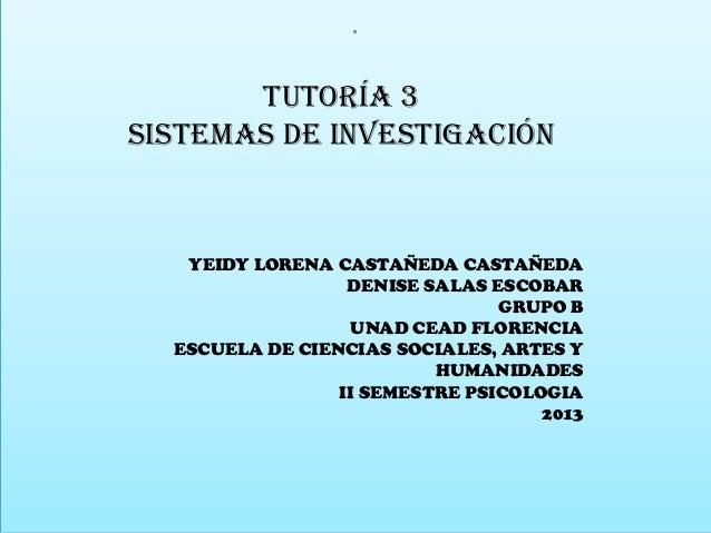. Tutoría 3 Sistemas de investigación  YEIDY LORENA CASTAÑEDA CASTAÑEDA DENISE SALAS ESCOBAR GRUPO B UNAD CEAD FLORENCIA E...
