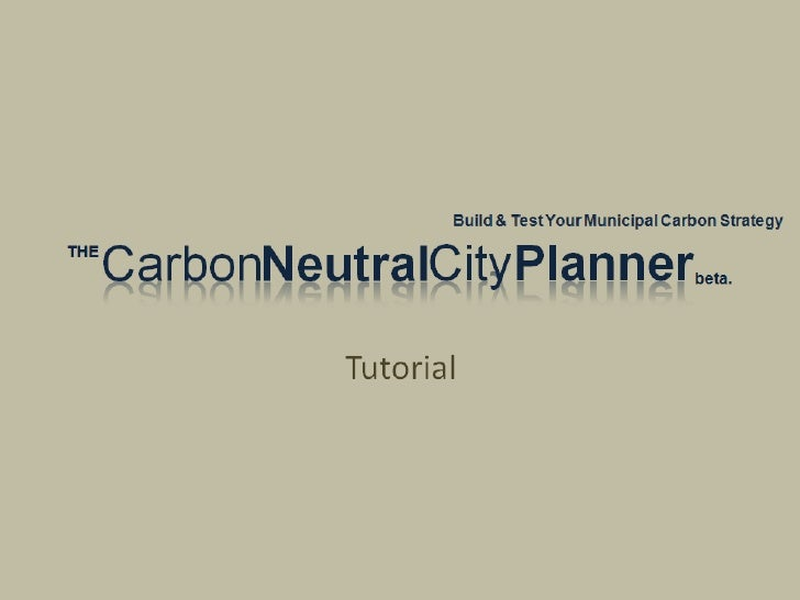 Carbon Neutral City Planner Tutorial