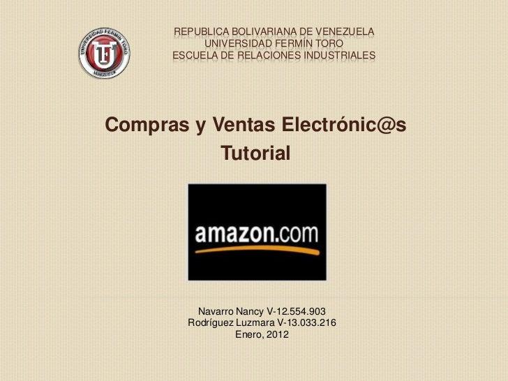 REPUBLICA BOLIVARIANA DE VENEZUELA           UNIVERSIDAD FERMÍN TORO      ESCUELA DE RELACIONES INDUSTRIALESCompras y Vent...