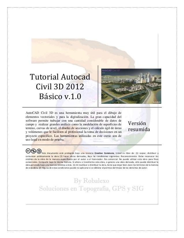 Tutorial AutocadCivil 3D 2012Básico v.1.0AutoCAD Civil 3D es una ...