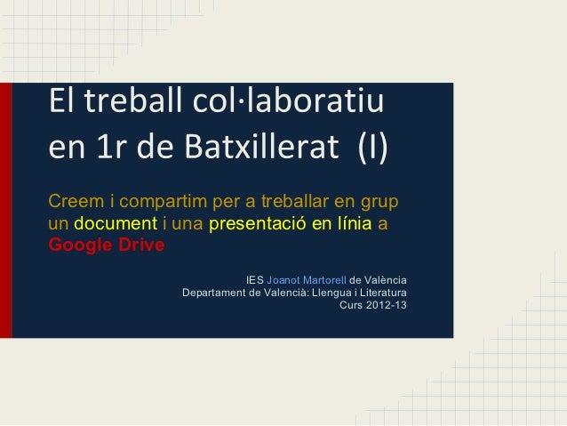 Creem i compartim per a treballar en grupun document i una presentació en línia aGoogle Drive                          IES...