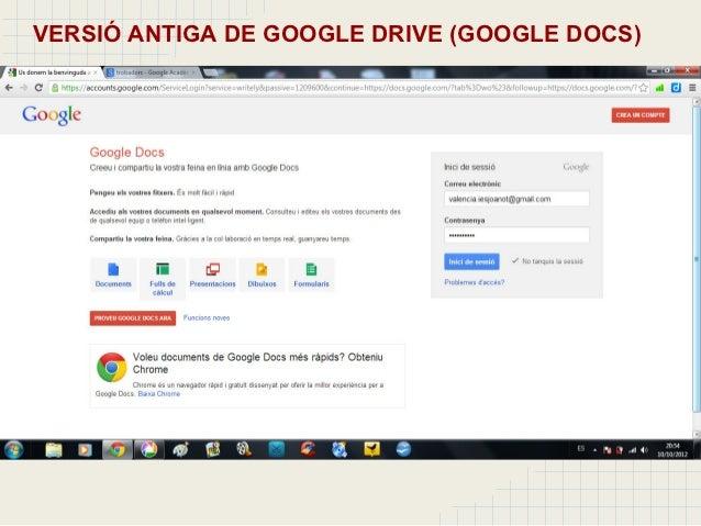 versió antiga de google drive google docs 6 apareixen els