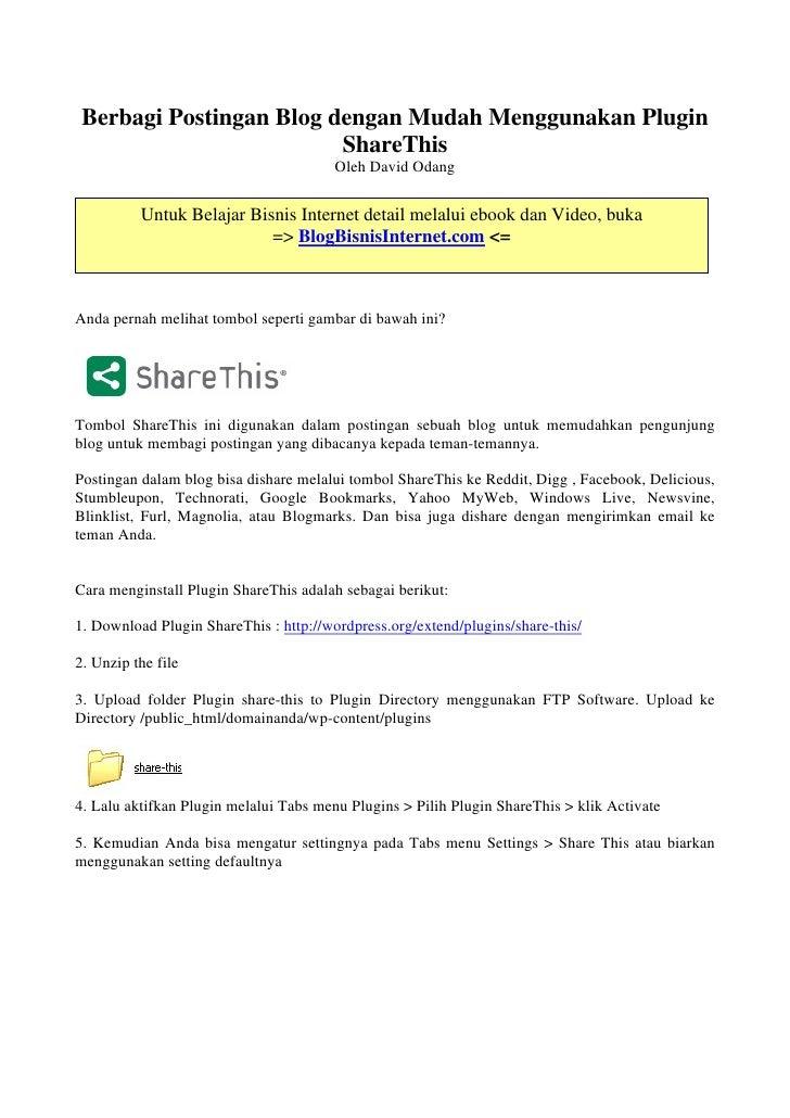 Berbagi Postingan Blog dengan Mudah Menggunakan Plugin                          ShareThis                                 ...