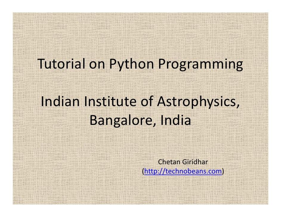 Tutorial on-python-programming