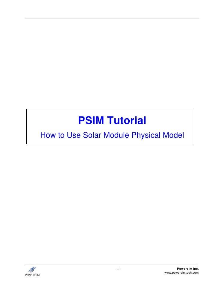 Tutorial solar module(physical-model)