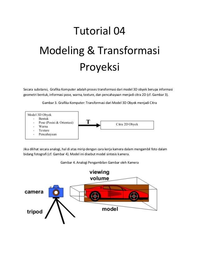 Tutorial 04 Modeling & Transformasi Proyeksi Secara substansi, Grafika Komputer adalah proses transformasi dari model 3D o...