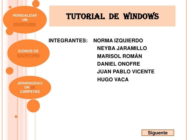 PERSOALIZAR    UN                       TUTOrIAL DE WINDOws ESCRITORIO                     INTEGRANTES:   NORMA IZQUIERDO ...