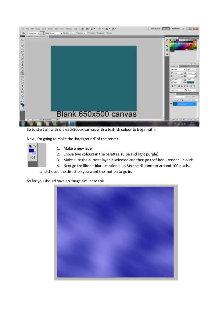sSo to start off with is a 650x500px canvas with a teal-ish colour to begin with.<br />sNext, I'm going to make the 'backg...