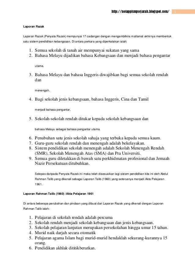 http://notappismpsejarah.blogspot.com/  Laporan Razak Laporan Razak (Penyata Razak) mempunyai 17 cadangan dengan mengambil...