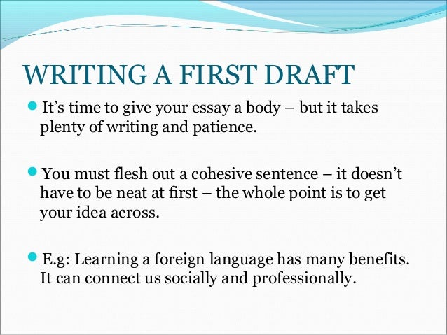 development process of a formal essay The first essay assigned in a composition course is often the so-called process essay, the writing project in which we describe how to do something or tell how something happens.
