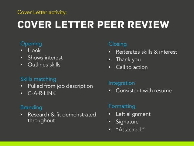 Laura's Tutorial #6 - Cover Letter Peer Review