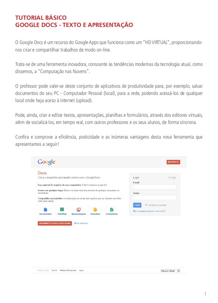 Tutorial básico google docs