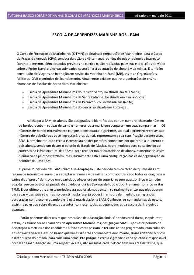 TUTORIAL BÁSICO SOBRE ROTINA NAS ESCOLAS DE APRENDIZES MARINHEIROS 1ddfd  editado em maio de 2011  ESCOLA DE APRENDIZES MA...