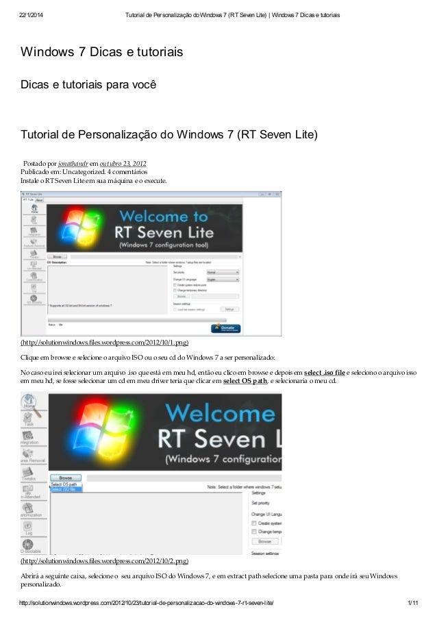 22/1/2014 Tutorial de Personalização do Windows 7 (RT Seven Lite)   Windows 7 Dicas e tutoriais http://solutionwindows.wor...