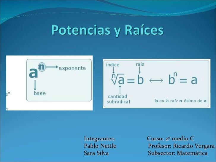 Integrantes:  Curso: 2º medio C Pablo Nettle  Profesor: Ricardo Vergara Sara Silva  Subsector: Matemática