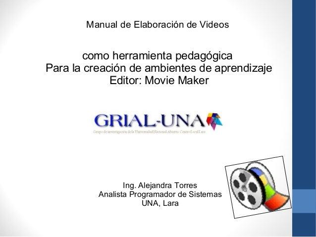 Manual de Elaboración de Videos  como herramienta pedagógica  Para la creación de ambientes de aprendizaje  Editor: Movie ...