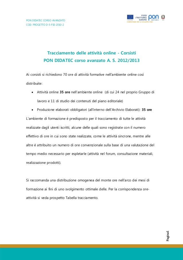 PON DIDATEC CORSO AVANZATOCOD. PROGETTO D-5-FSE-2010-2Pagina1Pagina1Tracciamento delle attività online - CorsistiPON DIDAT...