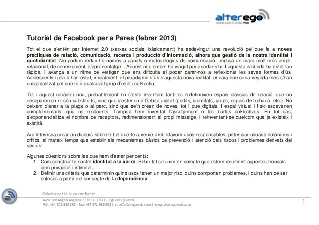Tutorial Facebook per a pares
