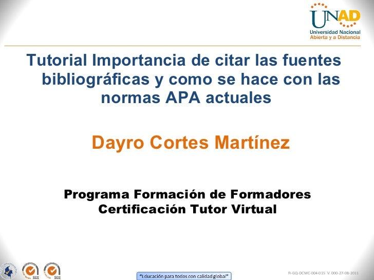 <ul><li>Tutorial Importancia de citar las fuentes bibliográficas y como se hace con las normas APA actuales  </li></ul>Pro...