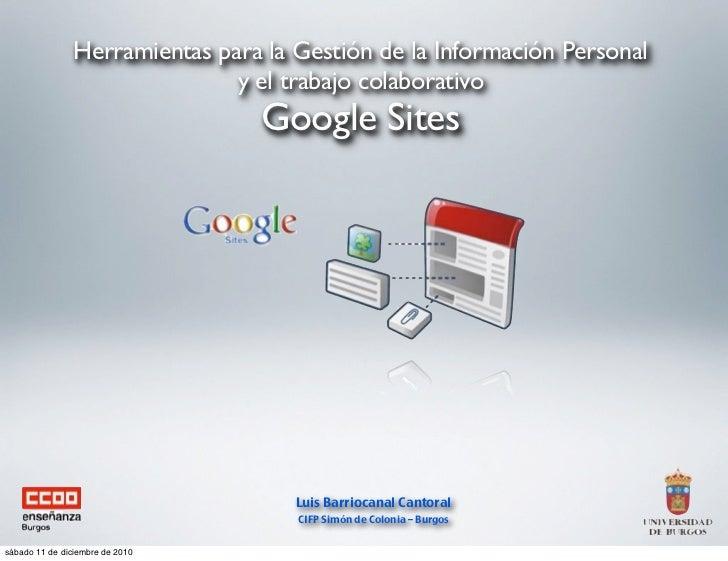 Herramientas para la Gestión de la Información Personal                              y el trabajo colaborativo            ...