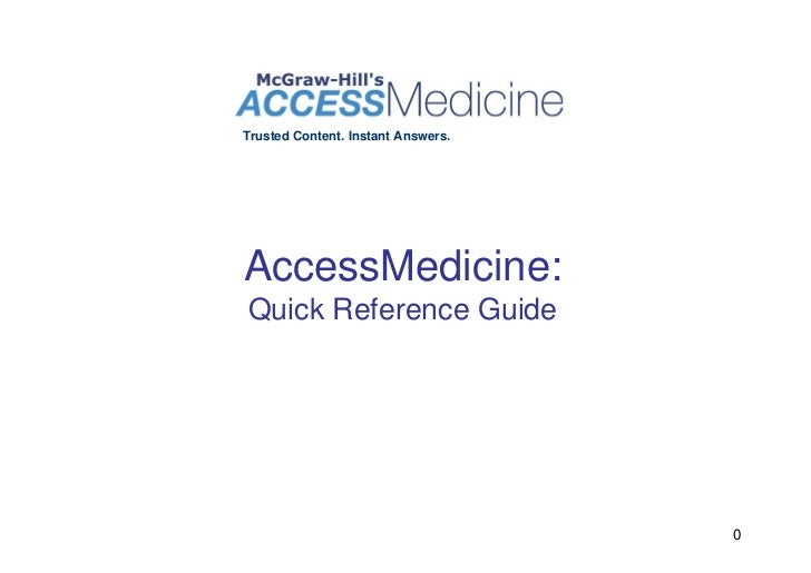 Trusted Content. Instant Answers.     AccessMedicine: Quick Reference Guide                                         0