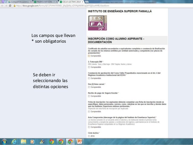 Tutorial inscripciones IESFA 2014