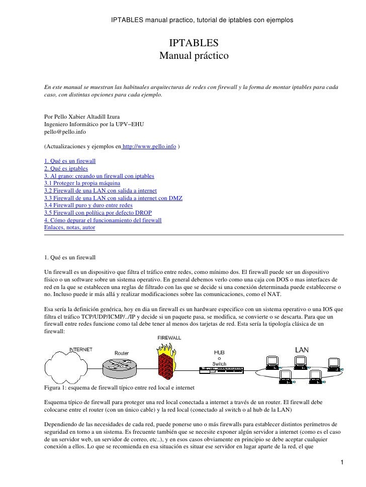 IPTABLES manual practico, tutorial de iptables con ejemplos                                                 IPTABLES      ...