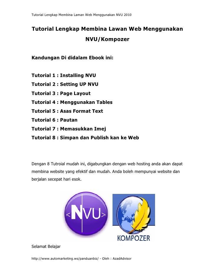 Tutorial Lengkap Membina Laman Web Menggunakan NVU 2010    Tutorial Lengkap Membina Lawan Web Menggunakan                 ...