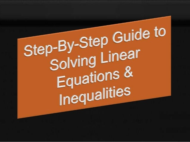 Tutorial linear equations and linear inequalities