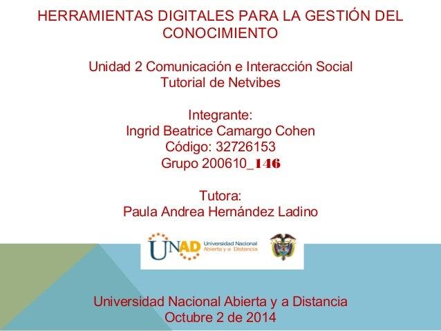 HERRAMIENTAS DIGITALES PARA LA GESTIÓN DEL  CONOCIMIENTO  Unidad 2 Comunicación e Interacción Social  Tutorial de Netvibes...