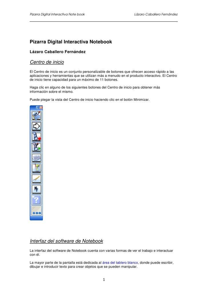 Pizarra Digital Interactiva Note book                               Lázaro Caballero FernándezPizarra Digital Interactiva ...