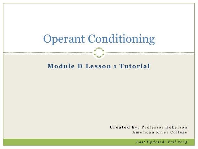 Operant Conditioning Tutorial