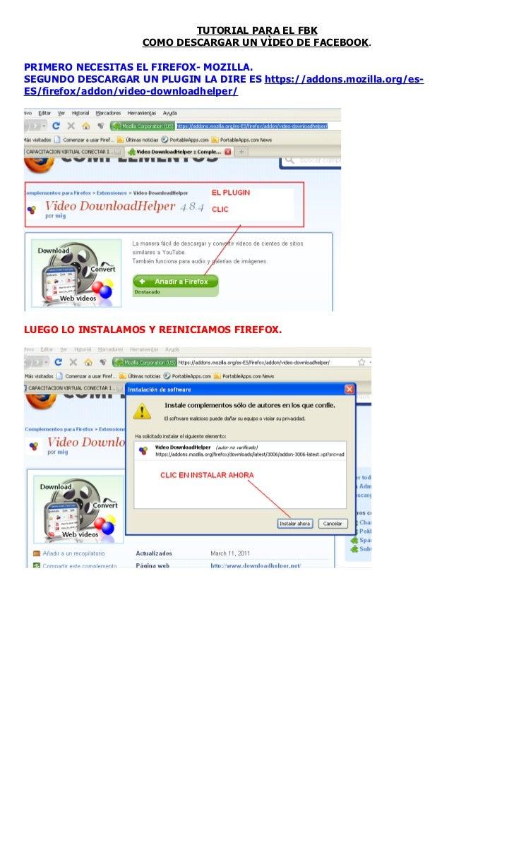 Como descargar un vídeo de FBK con Firefox