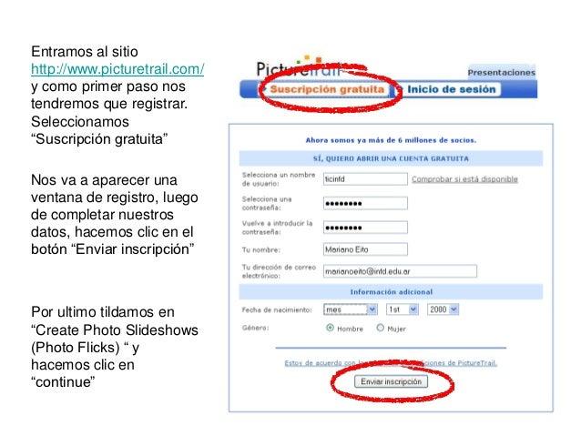 """Entramos al sitiohttp://www.picturetrail.com/y como primer paso nostendremos que registrar.Seleccionamos""""Suscripción gratu..."""